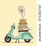 vintage scooter poster design.... | Shutterstock .eps vector #371202767