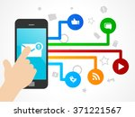smart phone with social network ... | Shutterstock .eps vector #371221567