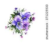 viola. watercolor floral... | Shutterstock . vector #371225533