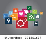 social media icons flat vector... | Shutterstock .eps vector #371361637