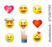 valentines day emoticon icons ... | Shutterstock .eps vector #371367493