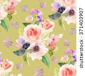 seamless pattern with flowers... | Shutterstock . vector #371403907