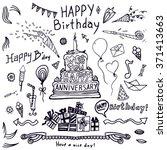 birthday elements. hand drawn... | Shutterstock .eps vector #371413663