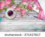 spring watercolor top view... | Shutterstock . vector #371427817