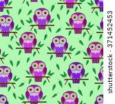 seamless pattern. colorful owl... | Shutterstock .eps vector #371452453