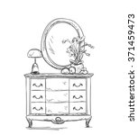 mirror and commode for make up. | Shutterstock .eps vector #371459473