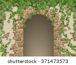 arch of stones and hanging ivy. ... | Shutterstock .eps vector #371473573