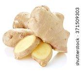 fresh ginger on white bakground ... | Shutterstock . vector #371509303