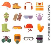 set of flat job safety... | Shutterstock .eps vector #371524903