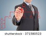 businessman's hand drawing an... | Shutterstock . vector #371580523