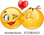 male emoticon kissing a female... | Shutterstock .eps vector #371582413