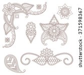 set henna tattoo design elements | Shutterstock .eps vector #371598367