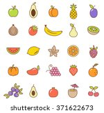 fruit  icons set.vector | Shutterstock .eps vector #371622673
