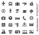travel black icons set.vector | Shutterstock .eps vector #371623117