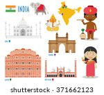 india flat icon set travel and... | Shutterstock .eps vector #371662123