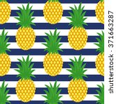 pineapple on striped background.... | Shutterstock .eps vector #371663287