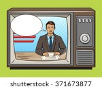 news presenter on tv pop art... | Shutterstock .eps vector #371673877