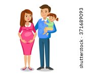 typical family in love  little... | Shutterstock .eps vector #371689093