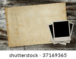 photos and old paper on wooden... | Shutterstock . vector #37169365