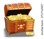 wooden pirate chest with golden ... | Shutterstock .eps vector #371712007