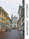 Small photo of SOLOTHURN, SWITZERLAND, JANUARY 2, 2015: Street view to St Ursus Cathedral in Solothurn. Solothurn is the capital of Solothurn canton in Switzerland. It is located on banks of the Aare river