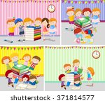 happy children reading books... | Shutterstock .eps vector #371814577