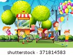 children having fun in the park ... | Shutterstock .eps vector #371814583
