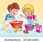 kids mixing up a recipe in the... | Shutterstock .eps vector #371821003