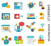 social network icons set with... | Shutterstock .eps vector #371890843