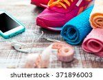 fitness equipment and healthy... | Shutterstock . vector #371896003