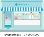 male pharmacist at the counter...   Shutterstock .eps vector #371907697
