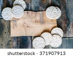 Rice Cakes On Old Wooden...