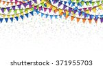 colored garlands and confetti... | Shutterstock .eps vector #371955703