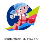 funny little robot jumping... | Shutterstock .eps vector #371962477