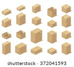 icons 3d boxes  realistic style ... | Shutterstock .eps vector #372041593
