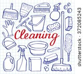 cleaning tools set. hand drawn...   Shutterstock .eps vector #372085243