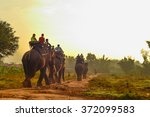 tourists on an ride elephant... | Shutterstock . vector #372099583