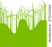 background wind turbines vector ... | Shutterstock .eps vector #372112363