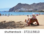 beach scene. playa de la... | Shutterstock . vector #372115813