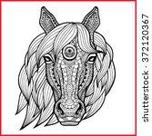 Horse's Head In Style Zentangl...