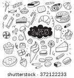 hand drawn sweets and candies... | Shutterstock .eps vector #372122233