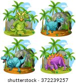 four dinosaurs standing in the... | Shutterstock .eps vector #372239257