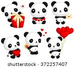 panda in love vector set | Shutterstock .eps vector #372257407