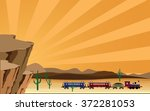 western scene with train | Shutterstock .eps vector #372281053
