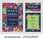 wedding vector set with flowers....   Shutterstock .eps vector #372310057