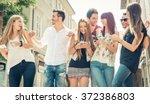 group of friends having fun in... | Shutterstock . vector #372386803