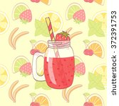 cartoon hand drawn mason jar...   Shutterstock . vector #372391753