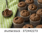 little chocolate cupcakes and...   Shutterstock . vector #372442273