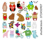 big vector set bears. it can be ... | Shutterstock .eps vector #372453907