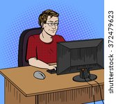 software developer coder at... | Shutterstock .eps vector #372479623